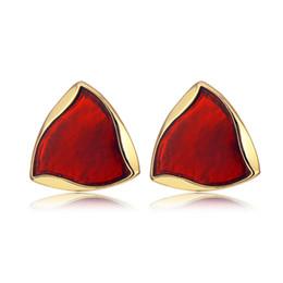 Discount red rhinestone earrings - Fashion Gold Color Triangle Stud Earrings Red Green Purple Austrian Crystal Rhinestone Earring for Women Wedding Jewelry