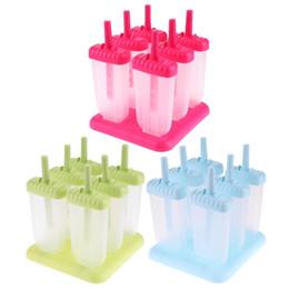$enCountryForm.capitalKeyWord Australia - 6pcs set DIY Ice Lolly Cream Molds Ice Tray Rectangle Shaped Ice Cream Pop Molds Tray Stick Cream Makers Mould