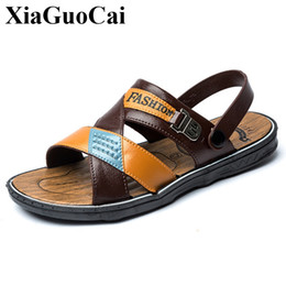sandals slipper designing 2019 - New Sandals Men Summer Shoes Flat Slippers Casual Footwear Retro Stylish Outdoor Anti-skid Male Beach Sandals Soft Light