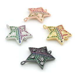 Clear Connectors Australia - 20*18*2mm Micro Pave Red&Blue&Green&Clear CZ Flower Relief Star Connectors Fit For Men And Women Making Bracelets Jewelry