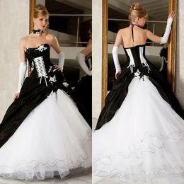 Sexy Black Gothic Corset Dress Australia - Vintage Black And White Gothic Wedding Dresses Sexy Strapless Corset Country Wedding Dress With Appliques Plus Size masquerade ball costumes