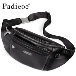 chest belt for men Australia - Padieoe Genuine Leather Belt Bag for Male Casual Small Bag for Phone Leisure Waist Packs Fashion Chest Pack Men Waist Pack Black