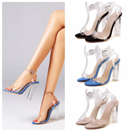 American Leather Shoes Australia - New Elegant Women's Sandals Euro-American Fashion Spring Summer One Button High-Heeled Sandals Transparent Wedding Shoes Cheap