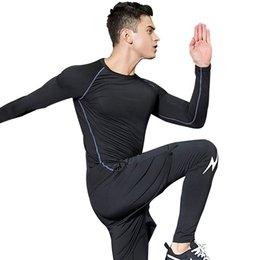 Discount fake clothes - Compression tracksuit men Sets MMA rashgard Fake two pants suit Men Long T-Shirt + tights Set Moletom Masculino Fitness