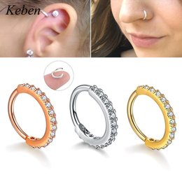 Jewelry cartilage piercings online shopping - 1PC Hoop Earring Silver And Gold Color Cz Nose Hoop Helix Cartilage Earring Daith Snug Rook Tragus Ring Ear Piercing Jewelry