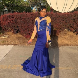 Taffeta Mermaid Prom Dresses Australia - Royal Blue Taffeta Black Girls Prom Gowns 2019 Blue Gold Appliques Lace Party Dress Mermaid Long Sleeves Formal Wear Women