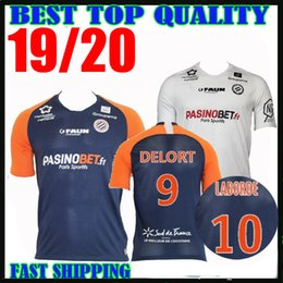 19 20 Camisas de futebol de Montpellier Herault home away 2019 Camisas de futebol de 2020 maillot de pé # 11 SAVANIER # 40 LECOMTE # 10 LABORDE # 9 DELORT em Promoção