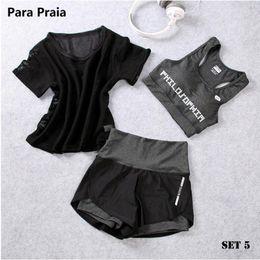 Pink Clothing Women UK - High Waist Three Piece Yoga Set Sportswear For Bra Fitness Clothing Sports Shorts Gym Workout Crop Top Women Q190517