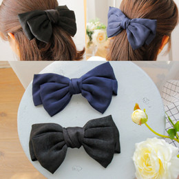 double hair bows Australia - Korean Women Hair Bows French Clip Solid Double Layers Big Bowknot HairClip for Girls Lady Hair Tie Fashion Hair Accessories