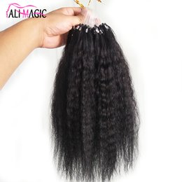 black peruvian hair extensions Canada - Afro Kinky Curly Micro Loop Hair Extension Kinky Straight Hair Black Brown Blone 10 Colors Optional 100g 100s 12-26inch Factory Direct