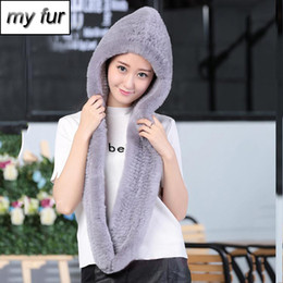 Knitted Rex Rabbit Fur Scarf Australia - Winter women Warm Fur Scarves Lady Fashion Real Rex Rabbit Fur Hooded Scarf 100% Natural Knitted Rex Rabbit Rabbit Fur Muffler