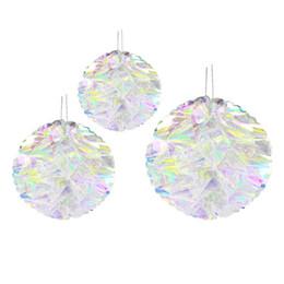 $enCountryForm.capitalKeyWord Australia - 3 Pcs set Multifunctional Drop Ornament Props Paper Flower Ball Rainbow Film Plastic Honeycomb Home Artificial Iridescent