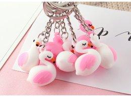 $enCountryForm.capitalKeyWord Australia - pink white Flamingo Keychain Cartoon Animal Car Bag Keyring Key Chains Bag Men Women Keychains Small Pendant