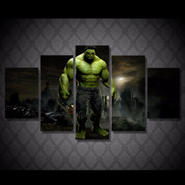 Group Oil Australia - Hulk Movie Group,5 Pieces Canvas Prints Wall Art Oil Painting Home Decor (Unframed Framed)