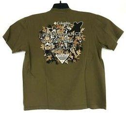 Army Camo Gear Australia - COLUMBIA Mens L Brown PHG Hunting Gear Camo Dear   BuMen Short Sleeve T Tee Shirt