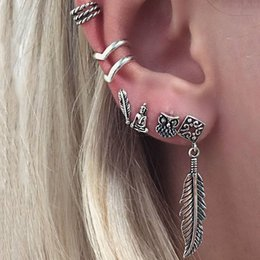 v shape earrings 2019 - Vintage Earrings Set Punk Style Feather Buddha Owl Leaves Earrings Women Bohemian V Shaped Ear Clip Stud Earring 6Pcs Se