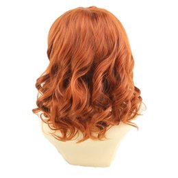 wig short white Australia - top WoodFestival The Avengers costume wig black widow costume cosplay wig short curly synthetic hair wigs avengers orange wigs fiber hair