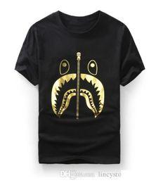 $enCountryForm.capitalKeyWord Australia - Mens women lovers Sportwear Tshirts Jogger Tracksuit Pullover cotton Crewneck Shark mouth Black Hip Hop stusay Tee tops Shark mouth print