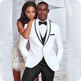 9c837f015af White Groom Tuxedos Custom Made Wedding Suits Men Black Shawl Lapel Slim Fit  Best Man Blazers 3Piece Jacket Pants Vest Costume Homme Ternos