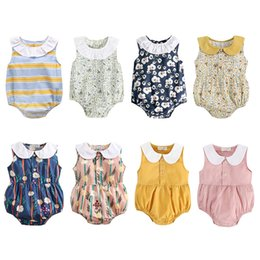 black newborn baby dolls 2020 - Newborn Sleeveless Summer Rompers Doll Collar Floral Romper Cotton 8 Style Design Triangle Baby Girl Onesies 19121801