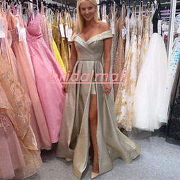 royal ball suit Australia - Jumpsuits Champagne Sequins Satin Formal Evening Dresses Off the Shoulder Sexy Side Slit Long Prom Dress Women Pant Suits Party Ball Gowns