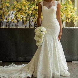 Venta al por mayor de 2019 vestidos de novia de jardín sirena ilusión escote vestidos de novia botón cubierto cubierto volver tren tren vestido de boda