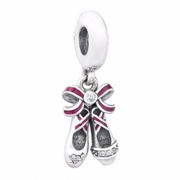shoe dangle charms Australia - New Authentic 925 Sterling Silver Beads Pave Crystal Charms Fit European Bracelet Ballet Shoe Dangle Charm for Women DIY Jewelry Making