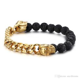 $enCountryForm.capitalKeyWord Canada - Vintage Punk Volcanic Stones With Gold Color Stainless Steel Skull Bracelets Bangles Curb Cuban Link Chain Bracelet Man Wristband G820R