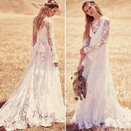 $enCountryForm.capitalKeyWord Australia - Vintage Bohemian Lace Wedding Dresses 2020 Long Sleeve Illusion Country Beach Wedding Dress Cheap Bridal Dresses Wedding Gowns