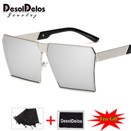 wholesale hip hop women sunglasses 2019 - Fashion Brand Designer Square Flat lens Sun Glasses Mirror Women Sunglasses Men Hip Hop Oversized Lady Eyeglasses Male F