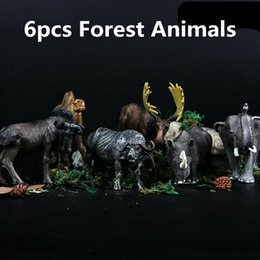forest figures NZ - 6pcs Kids Toy Action Figures Collectible Farm Forest Educational Zoo Set Plastic Home Simulated Model Wild Animals Development