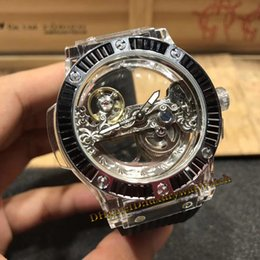 Big Purple Watches Australia - Brand BIG Black Diamond Transparent Crystal Case Skeleton Double Sided Perspective Dial Automatic Mechanical Mens Watch Rubber Strap Watches