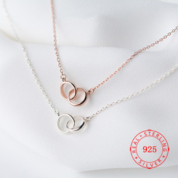 small gold pendant designs 2019 - small design genuine sterling silver 925 two double interlocking circle pendant necklace rose gold plated minimalist wom