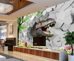 decorative printed wallpaper NZ - 3d Digital Print Wallpaper Jurassic Park Dream 3D Stereo TV Background Wall Decorative Wall paper