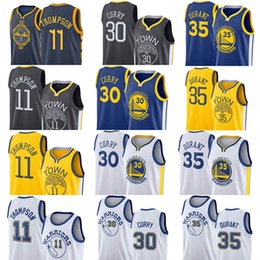 d8010661df2b New Style Mens White Black Cool Breathable Jerseys 11 Thompson Golden 30  Curry State 35 Durant Warriors
