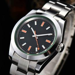 Опт Мужские роскошные товары Лучшее качество автоматические мужские 40 мм часы светящиеся Япония Miyota зеленый стеклянный стальной корпус R5