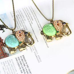 Pendant Designs For Gems Australia - High Quality Fashion vintage jewelry accessories bohemia long design retro gem rhinestone elephant necklace pendant for women