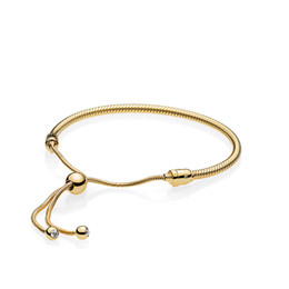 18K Yellow Gold plated Bracelets Hand rope for Pandora 925 Sterling Silver Bracelet for Women With Original Gift Box Free shipping on Sale