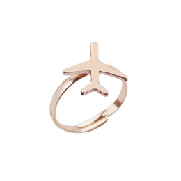 $enCountryForm.capitalKeyWord UK - Plane Present Alloy 1PC Hot Golden Girls Graceful High Quality Adjustable Ringent Unique Silvery Allergy Free Rose Golden Rings
