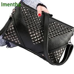 $enCountryForm.capitalKeyWord NZ - High Quality Black Women Leather Handbags Rivet Stud Crossbody Bags Female Women Messenger Bags Purses And Handbags Shoulder Bag MX190725