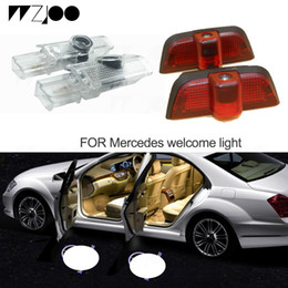 Light For Mercedes Australia - LED Car Door Light LOGO Projector Welcome Shadow Lamps For Mercedes Benz W210 W203 W204 W205 A E B C ML GL Class For M-Class