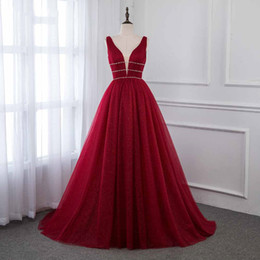 $enCountryForm.capitalKeyWord Australia - Wine Red Prom Dresses Bling Tulle Deep V Neck Crystals 2019 Evening Gown Backless Real Pictures Formal Prom Party Dress robe de soiree