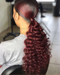 quality afro hair extension Australia - Kinky curly pony tail hairpiece Best quality Burgundy 99J afro kinky curly ponytail extension for black women pure virgin hair 140g