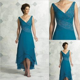 Red chiffon tea length dRess online shopping - 2019 Elegant Mother Of The Bride Dresses V Neck Pleated Beading Chiffon Tea Length High Low Turquoise Women Party Dress Prom Dresses