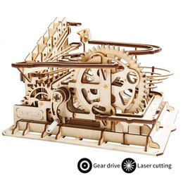 Wholesale Robud Diy Waterwheel Coaster Wooden Model Building Kits Assembly Toy Kinds Marble Run Game For Children Adult Lg Q190530