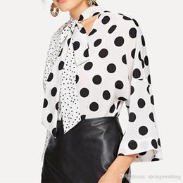 Long Chiffon Belts Australia - Nice Spring Polka Dots Printed V Neck Women Casual Office Shirts Blouse Belt Front Long Sleeve Chiffon Tops Shirts Blouse New Vogue FS5205
