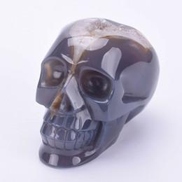 $enCountryForm.capitalKeyWord Australia - Natural Agate Geode Cluster Skull Hand Carved Quartz Crystal Skull Figurine Healing Crystal Stone Statue Crafts Home Decoration