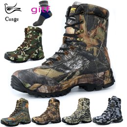 Camp Shoes For Men Australia - CUNGE Outdoor Tactical Sport Men's Shoes For Camping Climbing boots Men Hiking Boots Mountain Non-slip waterproof hunting boots #4394