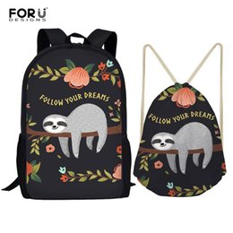 $enCountryForm.capitalKeyWord NZ - FORUDESIGNS 2pcs set Backpack Women Cute Sloth Print Backpacks Students School Bags for Teenage Girls Mochila Feminina Sac a Dos