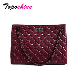 $enCountryForm.capitalKeyWord NZ - Toposhine Pop Large Capacity Casual Tote For Women Fashion Diamond Pattern PU Leather Female Shoulder Bag Cool Rivets Girl Bags